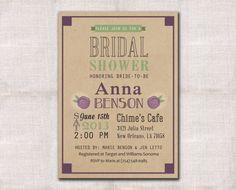 Bridal shower invitation custom printable 5x7 by DarlinBrandoPress, $15.00