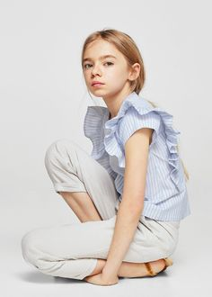 Ruffles stripe-patterned blouse