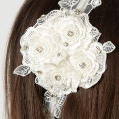 Vintage Jenny Packham No1 Ivory Lace Layered Crystal Hairband Bridal Bridesmaid