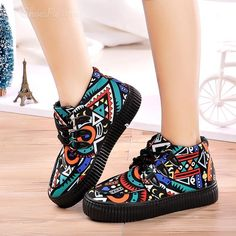 Shoespie Geometric Print Thick Cotton Lining Flat Boots Flat Boots, Girls Shoes, Designer Shoes, Shoe Designs, Flats, Elegant, Cotton, Stuff To Buy, Fashion Design