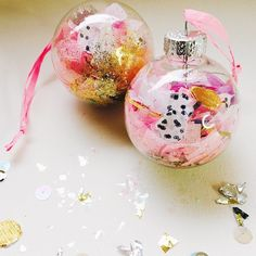 DIY Holiday filled glass ornaments by Ashley G