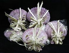 Lot of 9 Purple Scallop Sea Shell Christmas Ornaments Holiday Craft Supplies ~ SOLD!