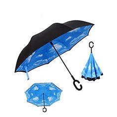 Home C Handle Black Reverse Folding Umbrella For Proof Windproof Rain Car Inverted Umbrella Double Layer Anti Uv Self Stand Parapluie
