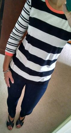Cute top! Like the color, pop of orange, and stripes.