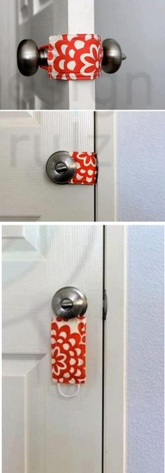 """Latch Stopper ... to keep the door quiet for nap times, to keep little ones from getting """"stuck"""" in rooms ... etc., etc., etc.  No link to instructions.  I am assuming simply sew two pieces of fabric together with a pony tail holder (elastic band) sewn into each end."""