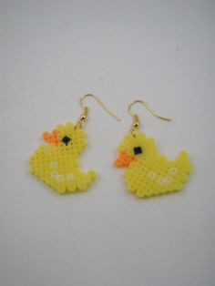 Handmade earrings / Hama beads / Perler beads / Yellow by Yarisada