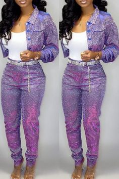 Lovely Casual Buttons Design Purple Two-piece Pants Set online shopping mall, buying fashion dresses & rapid delivery. Start your amazing deals with big discounts! Classy Outfits, Cool Outfits, Casual Outfits, Two Piece Pants Set, Two Piece Outfit, Fashion 2020, Girl Fashion, Fashion Today, Fashion Addict