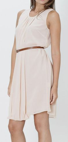 Old Pink Sleeveless Belted Dress