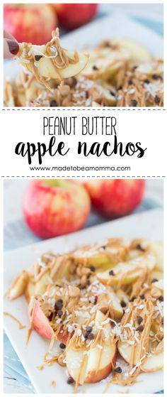 Peanut Butter Apple Nachos: a delicious healthy treat that the whole family will love. Customize them with your family's favorite toppings! This post contains affiliate links. Apples and peanut butter Day Fix Apple Recipes) Peanut Butter Snacks, Apple And Peanut Butter, Apple Recipes, Whole Food Recipes, Apple Desserts, Fall Recipes, Delicious Desserts, Healthy Snacks, Healthy Recipes