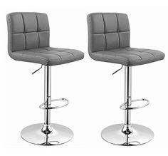 Bar Stool Duhome WY-451 Adjustable Swivel with Backrest Set of 2 Barstools (Grey)