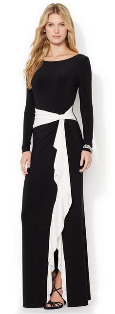Lauren Ralph Lauren Long-Sleeve V-Back Ruffled Gown