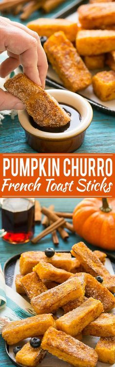 Light and fluffy pumpkin french toast sticks coated in cinnamon sugar. They're super fun to eat and they taste like a churro!: