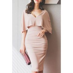 Look at how flattering this dress is! Stylish Plunging Neck Ruched Bodycon Cape Dress For Women Cape Dress, Dress Skirt, Dress Up, Bodycon Dress, Pink Dress, Ruched Dress, Women's Dresses, Dress Outfits, Fashion Dresses