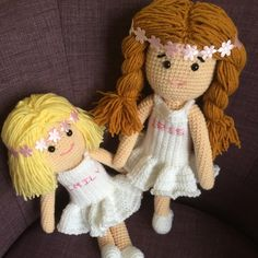 Here are the latest personalised dolls ready to be sent out to their new owner.  Cute gifts for two little flower girls