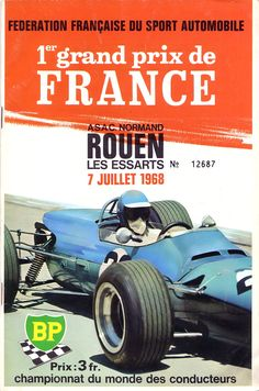 Poster for the 1968 Grand Prix of France at Rouen. #F1 #FrenchGP #Rouen