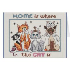 Home is where the cat is card  $2.95  by KoolerDesignStudio  - cyo customize personalize unique diy idea