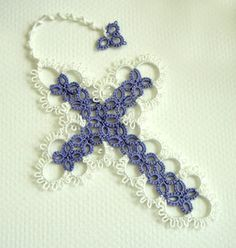 Tatted Cross Bookmark - Tatted Lace Bookmark - Your Color Choice  Use this unique tatted cross bookmark as the way to keep your place in a