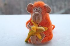 Needle Felted Toy  Monkey  Felt Toys by TashaToys on Etsy