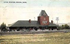 Regina Saskatchewan Canada 1908 Canadian Pacific Railway Depot Vintage Postcard Canadian Pacific Railway, Saskatchewan Canada, Vintage Postcards, Architecture, House Styles, Places, Trains, Board, Vintage Travel Postcards