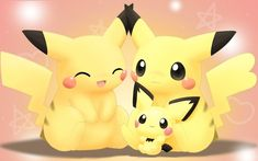 Pikachu Parents with Pichu! Pichu Pikachu Raichu, Cute Pikachu, Cute Pokemon Wallpaper, Kawaii Wallpaper, Wallpaper Iphone Cute, Cute Wallpapers, Cellphone Wallpaper, Screen Wallpaper, Cute Pokemon Pictures