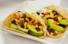 Tacos with avocado and black beans
