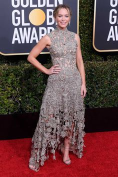 4d665af454b Emily Blunt wearing Alexander McQueen at the Golden Globes 2019. Emily  Blunt Mary Poppins