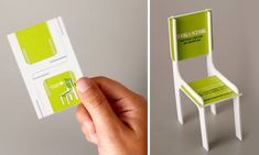 Tok&Stok: Toy Chair Business Card. The back of the card has the logo, while the seat takes the essential information such as address and phone number. (Advertising Agency: DDB, Brazil)