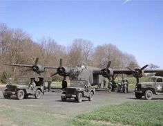 B-24 plane getting ready for war.   26 Ghostly Images Of World War Two, Blended With The Present