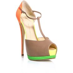 Giuseppe Zanotti Contrast neon-panel sandals ($682) found on Polyvore