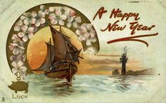 Celebrate New Year's with Vintage Cards of Lucky Pigs and Drunken Butterflies