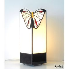 Lamp Butterfly. Tiffany table lamp. Stained glass lamp.