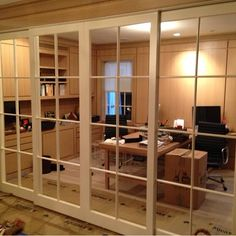 Home office doors Front Office, Office Doors, Belmont House, Window Mirror, Mirrors, Bedroom Closet Doors, River House, Home Automation, Smart Home