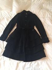 BURBERRY London Wool Cashmere Black Belted Coat Tiered Hem Size 6 New & Gorgeous