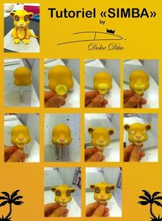 Simba Tutorial for Polymer Clay or Fondant Fondant Cupcakes, Fondant Cake Toppers, Fondant Icing, Lion Cakes, Lion King Cakes, Cake Topper Tutorial, Fondant Tutorial, Cake Decorating Supplies, Cake Decorating Tutorials
