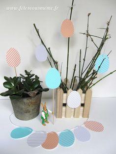 """Des jolies œufs à imprimer et à découper, avec lesquels vous pouvez faire toute sorte de décorations pour pâques qui arrivent à grand pas !  Vous avez ici deux modèles d'œufs à imprimer : les motifs déjà définis ou les """"prêt-à-colorier)."""