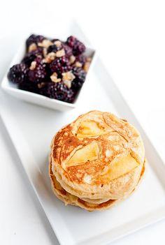 apple ginger pancakes w/warmed blackberries
