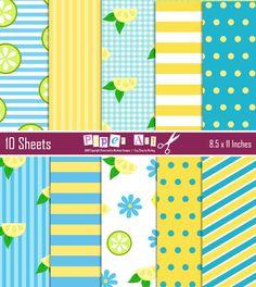 Lemon Meringue Strawberry Shortcake Friend Inspired Backgrounds, Pack Digital Scrapbooking, Scrapbooking Paper, Printable paper.. $4.99, via Etsy.