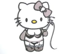 HELLO KITTY Kinky Whip Kitty Hotfix Iron-On BdSm Embroidered Patch