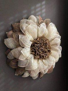 60 Easy DIY Outdoor Winter Wreath For Your Door Burlap flower wreath Burlap Flower Wreaths, Sunflower Wreaths, Deco Mesh Wreaths, Diy Wreath, Door Wreaths, Wreath Burlap, Burlap Wreaths For Front Door, Burlap Door Decorations, Rustic Wreaths