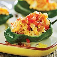 Shrimp & Grits Stuffed Poblanos is pretty Texan. Colorful, easy and ...