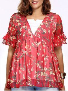 Sweet Plus Size V Neck Floral Print Faux Twinset Women's Blouse Plus Size Tops | RoseGal.com Mobile