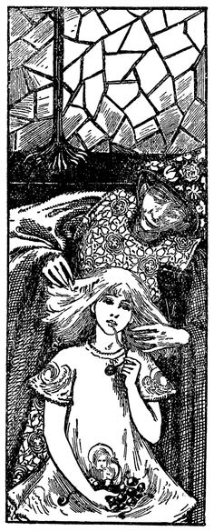 'While she was eating, the old woman combed her hair with a golden comb.' Illustration by Helen Stratton from The Snow Queen
