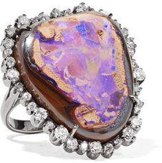 1843b4cd2 Kimberly McDonald - 18-karat blackened rose gold, diamond and opal ring