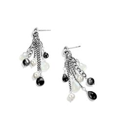 Bead Tassel Small Drop Earrings with Black Spinel and Pearls