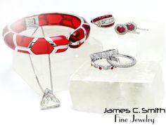 Ruby red jewelry and diamond jewelry. #ruby #red #diamonds