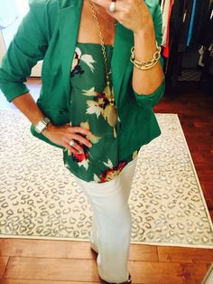 OOTD...cabi Fall '16 Bloom Cami and Cameo Necklace, Spring '16 Verde Jacket and vintage Everly Pant. #cabiclothing #mixandmatch nancydowning-schloss.cabionline.com  An unexpected yet fabulous mix and match of current and vintage pieces.