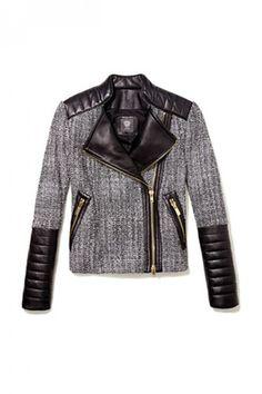 Too die for leather/tweed moto jacket