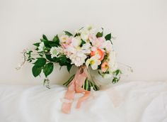 Hand tied asymmetrical bridal bouquet