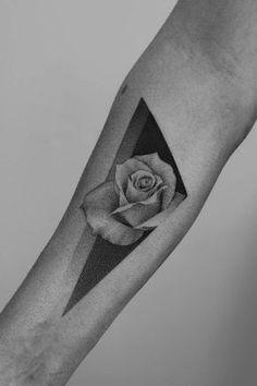 Dotwork rose tattoo by Paweł Indulski