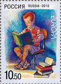 World Book Day:    Books are ships which sail the broad ocean of time.  (Francis Bacon)   --   Russian stamp on children's books in 2010 -- April 23  is  UNESCO World Book Day, which is celebrated throughout Germany in bookstores, publishers, libraries, and schools. That this day always falls on a April 23, goes back to the Catalan tradition of George Day: In Catalonia, it was tradition to give away for the feast of Saint George roses and books.